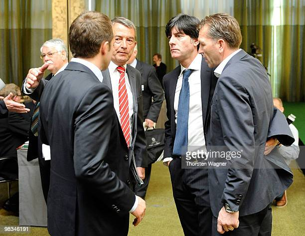 Hans Dieter Flick Wolfgang Niersbach Joachim Loew and Andreas Koepke talk during the German Football Association Bundestag at the Steigenberger...