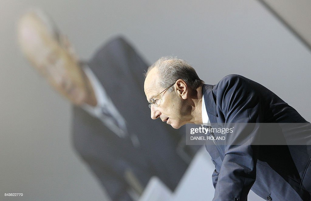 Hans Dieter Poetsch, CEO of German company Porsche SE delivers his speech during the company's annual shareholder meeting in Stuttgart, on June 29, 2016. / AFP / DANIEL