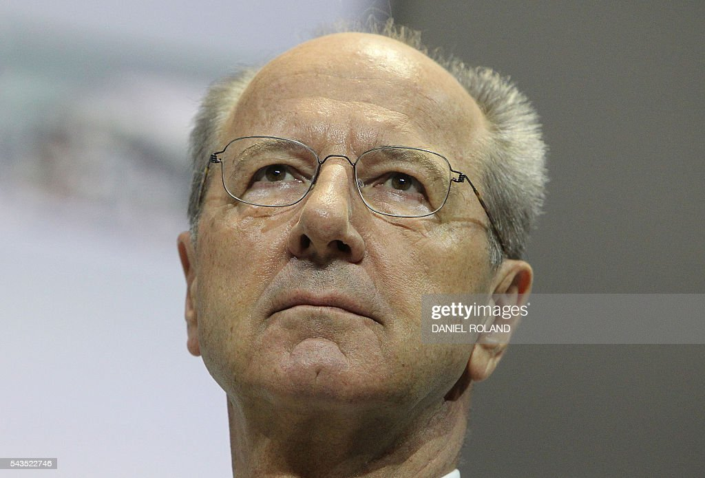 Hans Dieter Poetsch, CEO of German company Porsche SE is pictured during the company's annual shareholder meeting in Stuttgart, on June 29, 2016. / AFP / DANIEL