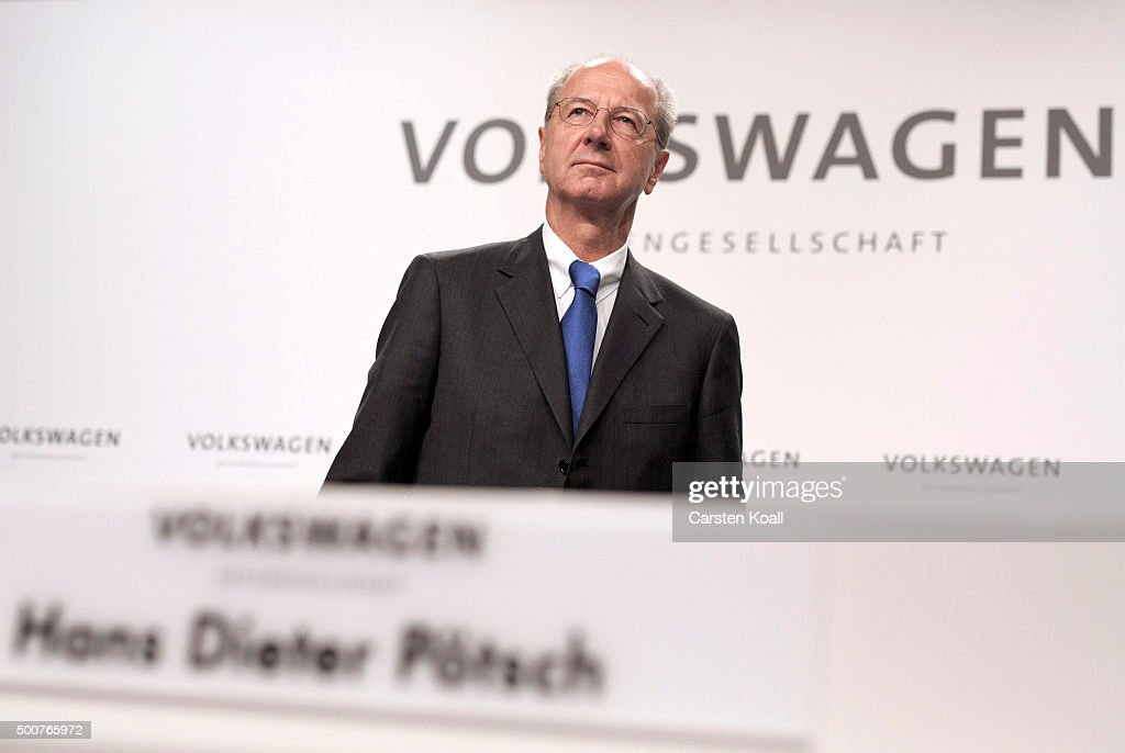 Hans Dieter Poetsch, Chairman of the Supervisory Board of Volkswagen AG, arrives to the press conference to announce the latest update in the company's handling of the engine emissions scandal on December 10, 2015 in Wolfsburg, Germany. Volkswagen is continuing to grapple with the consequences after it admitted installing software that cheats during emissions tests into 11 million of its diesel cars sold worldwide.