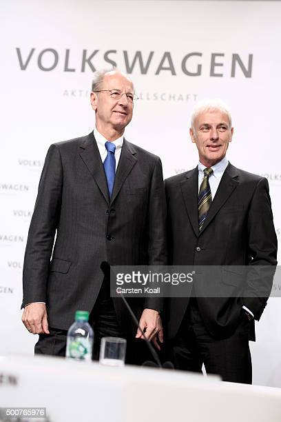 Hans Dieter Poetsch Chairman of the Supervisory Board of Volkswagen AG and Volkswagen Group Chairman Matthias Mueller arrive to the press conference...
