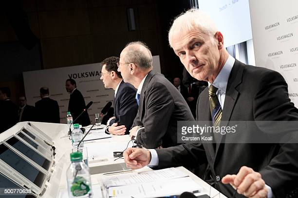 Hans Dieter Poetsch Chairman of the Supervisory Board of Volkswagen AG and Volkswagen Group Chairman Matthias Mueller attend a press conference to...
