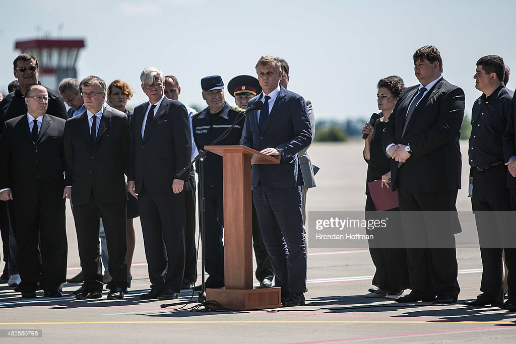 Hans Docter Dutch Ambassador to Ukraine speaks at a departure ceremony for the victims of the crash of Malaysia Airlines flight MH17 to the...