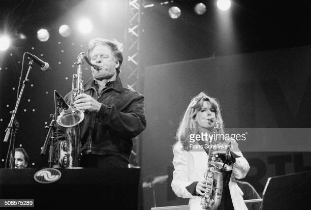 Hans Dulfer tenor saxophone his daughter Candy Dulfer alto sax perform at the North Sea Jazz Festival in the Hague Netherlands on 15th July 1995