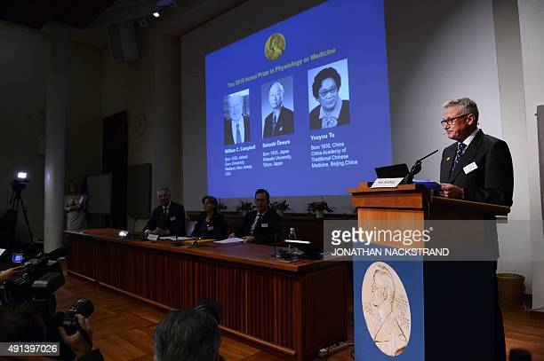 Hans Forssberg member of the Nobel Assembly addresses a press conference of the Nobel Committee to announce the winners of the 2015 Nobel Medicine...