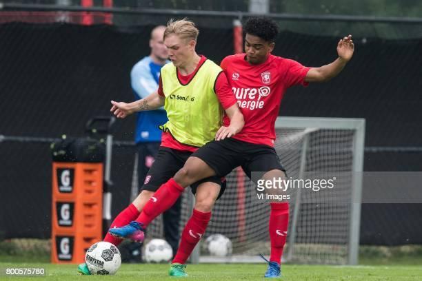 Hans Fredrik Jensen of FC Twente Godfriede Roemeratoe of FC Twenteduring a training session at Trainingscentrum Hengelo on June 24 2017 in Hengelo...