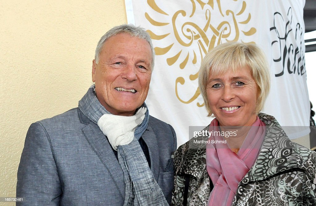 Hans Georg Heinke (L) poses during a press conference for the 'Dancer Against Cancer' Fruehlingsball at Donauturm on April 5, 2013 in Vienna, Austria.