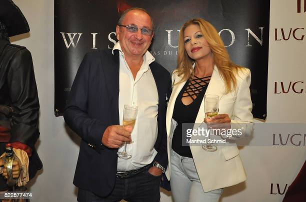 Hans Grimme and Vanessa Felsner pose during the 'Wish Upon' premiere in Vienna at Lugner Lounge Kino on July 25 2017 in Vienna Austria