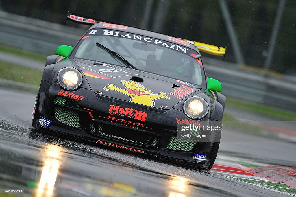 Hans Guido Riegel of Haribo Racing Team Porsche 997 GT3 R during the Blancpain GT Endurance race at Autodromo di Monza on April 15 2012 in Monza Italy