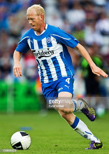 Hans Henrik Andreasen of Odense BK in action during the Superliga match between Odense BK and Brondby IF at the TREFOR Park on August 72011 in...