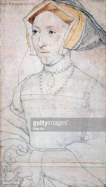 Hans Holbein the Younger Portrait of Queen Jane Seymour c 15367 pen ink and chalk on paper 50 x 285 cm Royal Collection London