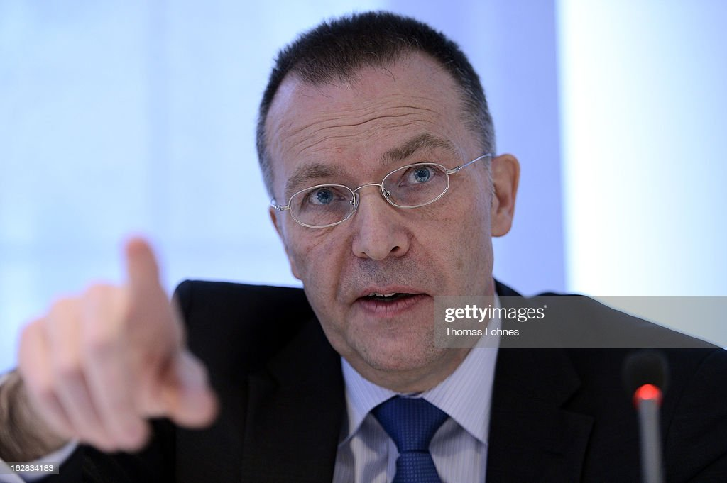 Hans Homrighausen, manager of the Frankfurter Societaets GmbH reacts during a press conference on February 28, 2013 in Frankfurt am Main, Germany. The Frankfurter Rundschau has been bought by the Frankfurter Allgemeine Zeitung after the Federal Cartel Office in Bonn allowed the acquisition on Wednesday afternoon.