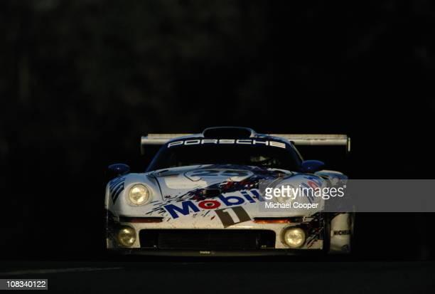 Hans Joachim Stuck drives the Porsche AG Mobil 1 Porsche 911 GT1 Turbo during the 24 Hours of Le Mans race on 15th June 1996 at the Circuit de la...