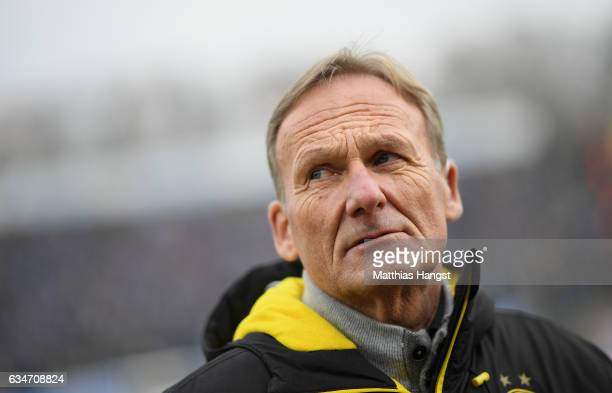 Hans Joachim Watzke CEO of Borussia Dortmund seen prior to the Bundesliga match between SV Darmstadt 98 and Borussia Dortmund at Stadion am...