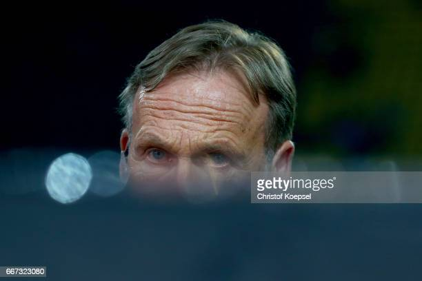 Hans Joachim Watzke chairman of the board of Dortmund looks concerend of the bomb attack to the buss of his team during the UEFA Champions League...