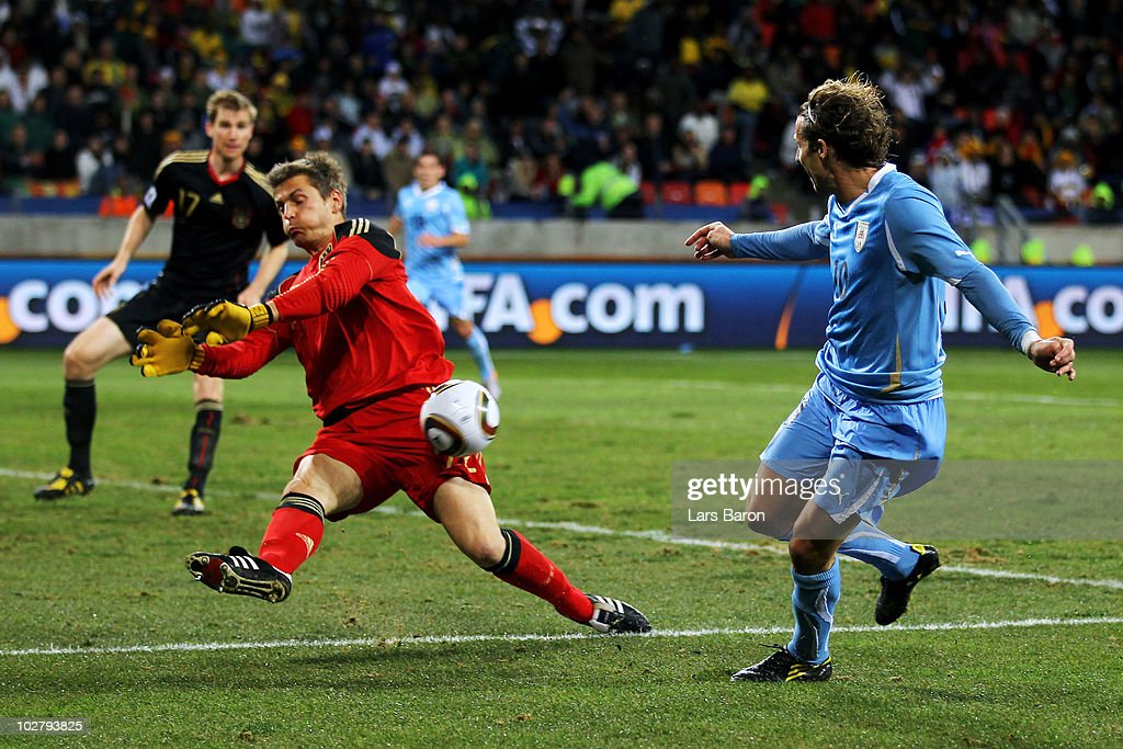Hans Joerg Butt of Germany blocks the shot of Diego Forlan of Uruguay during the 2010 FIFA World Cup South Africa Third Place Play-off match between Uruguay and Germany at The Nelson Mandela Bay Stadium on July 10, 2010 in Port Elizabeth, South Africa.