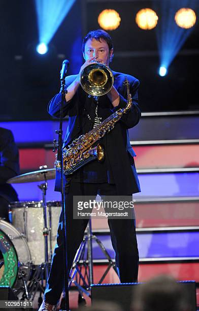 Hans Juergen Buchner perform with his band Haindling during the Bavarian Sport Award 2010 at the International Congress Center Munich on July 17 2010...