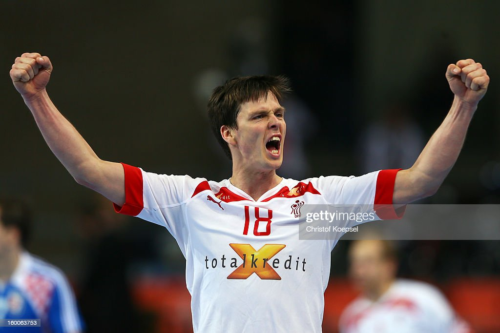 <a gi-track='captionPersonalityLinkClicked' href=/galleries/search?phrase=Hans+Lindberg&family=editorial&specificpeople=863614 ng-click='$event.stopPropagation()'>Hans Lindberg</a> of Denmark celebrates a goal during Men's Handball World Championship 2013 semi final match between Denmark and Croatia at Palau Sant Jordi on January 25, 2013 in Barcelona, Spain.