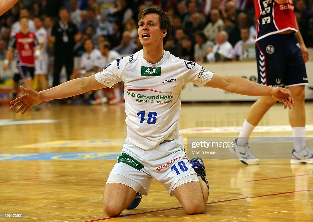 <a gi-track='captionPersonalityLinkClicked' href=/galleries/search?phrase=Hans+Lindberg&family=editorial&specificpeople=863614 ng-click='$event.stopPropagation()'>Hans Lindberg</a> of Hamburg reacts during the DKB Handball Bundesliga match between SG Flensburg-Handewitt and HSV Hamburg at Flens Arena on April 9, 2013 in Flensburg, Germany.