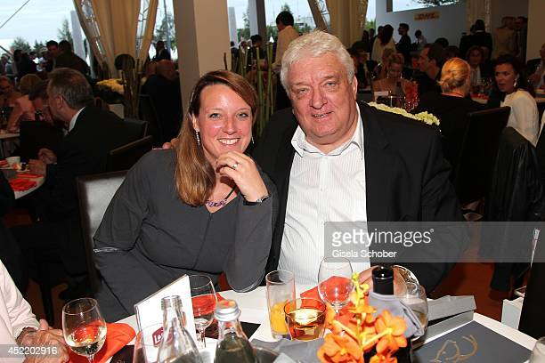 Hans Meiser and his daughter Anouk attend the CHIO 2014 media night on July 15 2014 in Aachen Germany