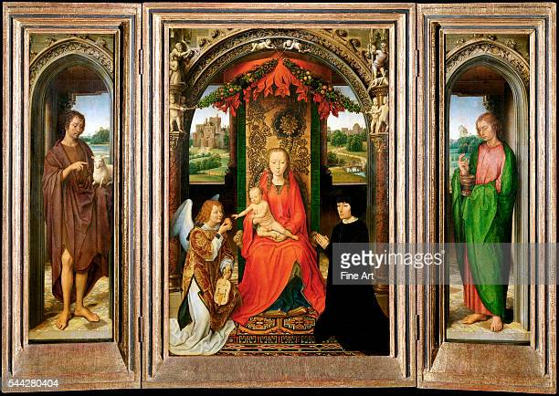 Hans Memling Small Triptych of St John the Baptist 148590 oil on panel 795 x 1122 cm 313 x 442 in Kunsthistorisches Museum Vienna