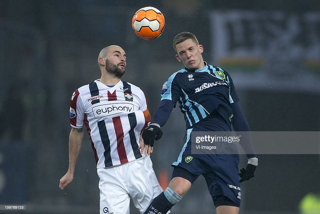 Hans Mulder of Willem II, Kevin Jansen of ADO Den Haag during the Dutch Eredivise match between Willem II and ADO Den Haag at the Koning Willem II Stadium on January 20, 2013 in Tilburg, The Netherlands.
