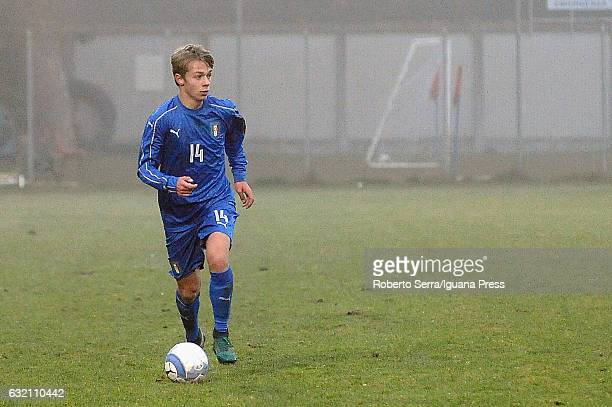 Hans Nicolussi Caviglia of Italy in action during the International Friendly match between Italy U17 and Hungary U17 at Stadio Germano Todoli on...