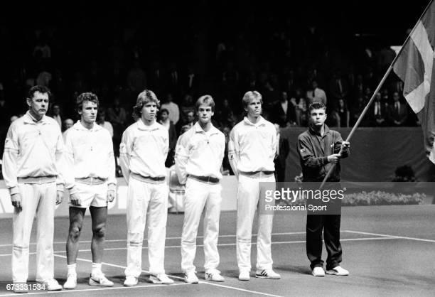 Hans Olsson Mats Wilander Joakim Nystrom Anders Jarryd and Stefan Edberg of the Swedish Tennis Team during the Davis Cup Final in Gothenburg Sweden...