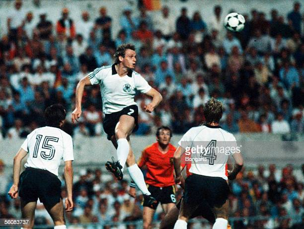 Hans Peter Briegel of Germany in action during the European Championship Final match between Belgium and Germany at the Olympic Stadium on June 22...