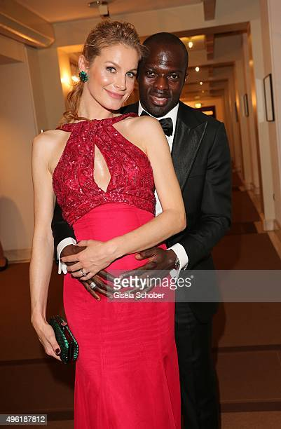 Hans Sarpei and his pregnant wife Pia Sarpei during the German Sports Media Ball at Alte Oper on November 7 2015 in Frankfurt am Main Germany