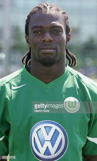 Hans Sarpei poses during the team presentation of VFL Wolfsburg for the Bundesliga Season 2005 2006 on July 10 2005 in Wolfsburg Germany