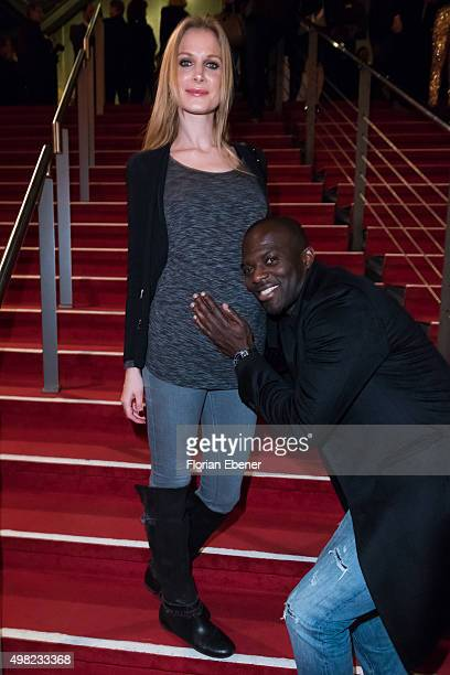 Hans Sarpei with wife Pia attend the 'Bodyguard Das Musical' gala premiere at Musical Dome Koeln on November 21 2015 in Cologne Germany Local Caption...