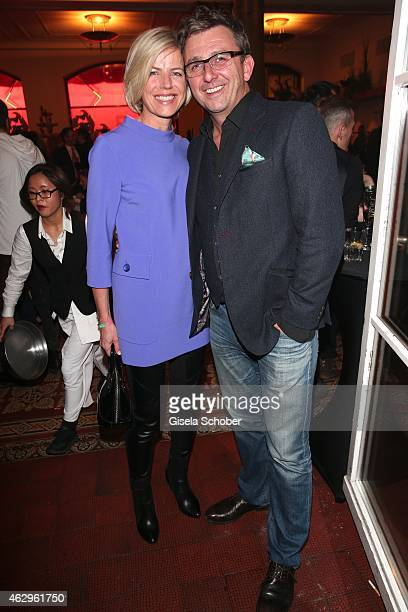 Hans Sigl and his wife Susanne during the Bild 'Place to B' Party at Borchardt Restaurant on February 7 2015 in Berlin Germany