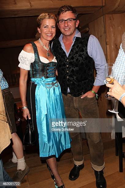 Hans Sigl and his wife Susanne Sigl during the Weisswurstparty at Hotel Stanglwirt on January 23 2015 in Going Austria