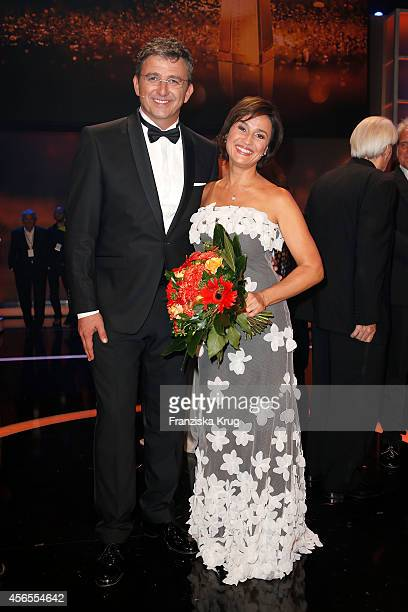 Hans Sigl and Sandra Maischberger attend the Deutscher Fernsehpreis 2014 after show party on October 02 2014 in Cologne Germany