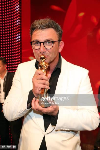 Hans Sigl with award during the ROMY award at Hofburg Vienna on April 22 2017 in Vienna Austria