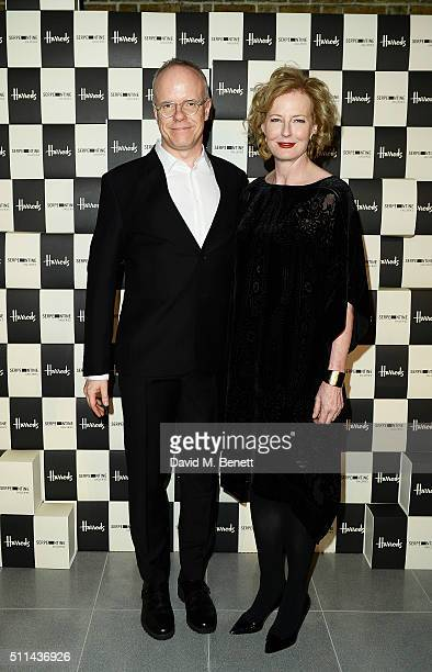 Hans Ulrich Obrist and Julia PeytonJones attend the Serpentine Future Contemporaries x Harrods Party 2016 at The Serpentine Sackler Gallery on...