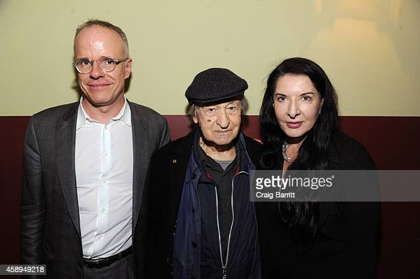 Hans Ulrich Obrist Jonas Mekas and Marina Abramovic attend the Swiss Institute and Surface Magazine dinner celebrating the launch of Hans Ulrich...