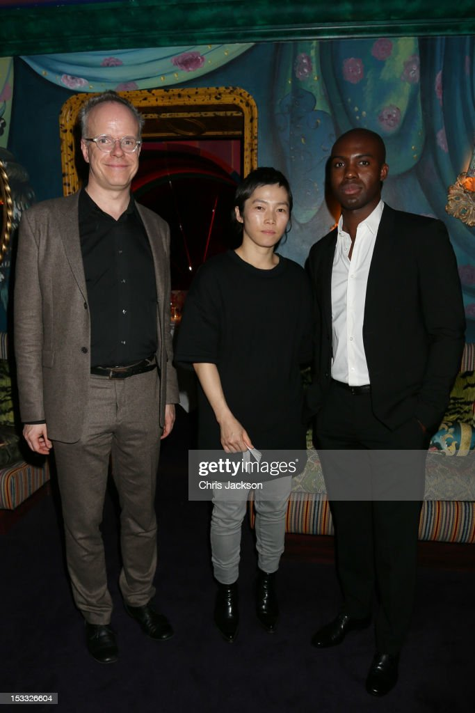 Hans Ulrich Obrist, Koo Jeong-A and Adam Pendleton attend a dinner at 5 Hertford Street to celebrate Pace London's opening on October 3, 2012 in London, England. The dinner followed the Private View of the exhibition Rothko/Sugimoto: Dark Paintings and Seascapes at the new Pace London Gallery, 6 Burlington Gardens.