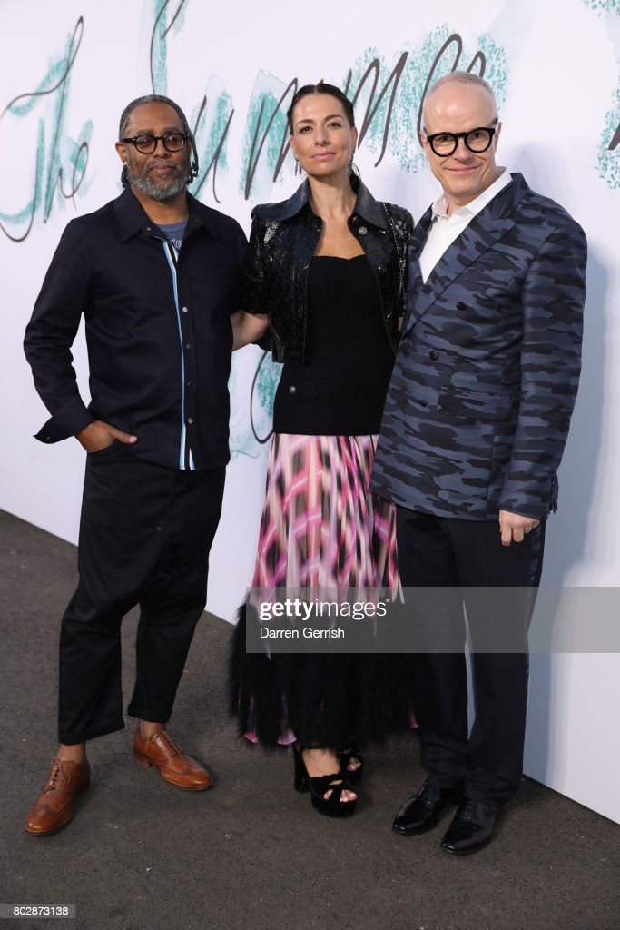 Hans Ulrich Obrist, Yana Peel and Arthur Jafa attends the Summer Party 2017 presented by Serpentine and Chanel at The Serpentine Gallery on June 28, 2017 in London, England.