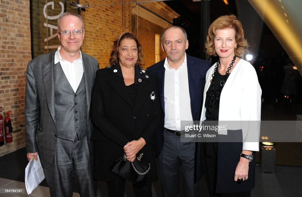Hans Ulrich Obrist, <a gi-track='captionPersonalityLinkClicked' href=/galleries/search?phrase=Zaha+Hadid&family=editorial&specificpeople=560782 ng-click='$event.stopPropagation()'>Zaha Hadid</a>, Victor Pinchuk and Julie Peyton-Jones attend the Future Generation Art Prize launch party at the new Serpentine Sackler Gallery in London hosted by international art patron Victor Pinchuk and attended by artists including Damien Hirst, artist patron of the Prize at The Serpentine Gallery on October 16, 2013 in London, England.