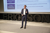 Hans Vestberg chief executive officer of Ericsson AB speaks during a news conference to present second quarter earnings at Ericsson Studio in Kista...
