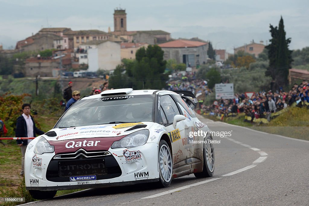 Hans Weijs of Nederland and Bjorn Degant of Belgium compete in their Qatar WRT Citroen DS3 WRC during Day Two of the WRC Spain on November 10, 2012 in Salou , Spain.