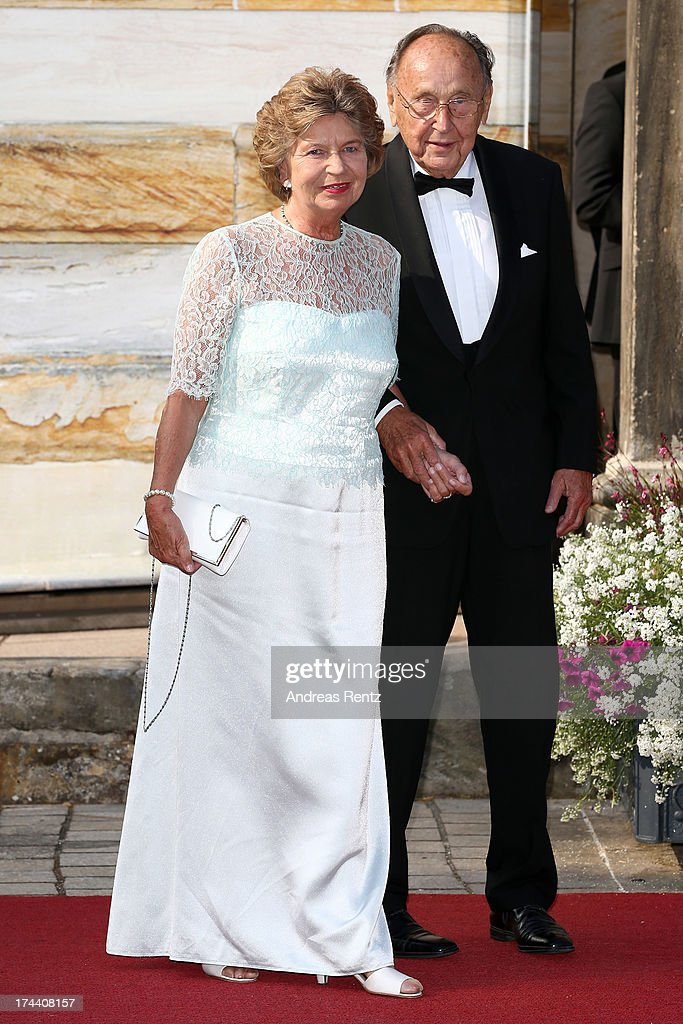 Hans-Dietrich Genscher and his wife Barbara Genscher attend Bayreuth Festival Opening 2013 on July 25, 2013 in Bayreuth, Germany.