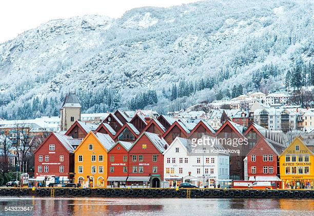 Hanseatic houses in Bryggen at winter