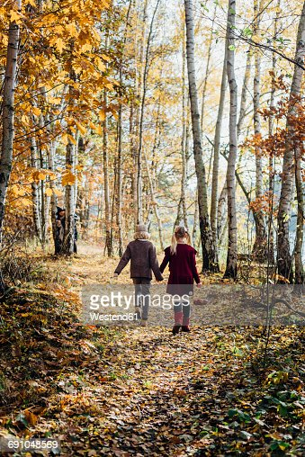 Hansel and Gretel, Boy and girl walking alone in the forest, witch waiting behind tree