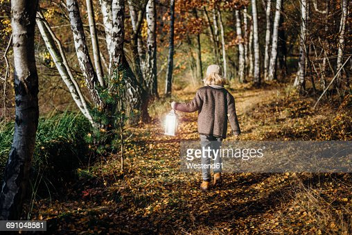 Hansel and Gretel, Boy walking in forest, carrying lantern