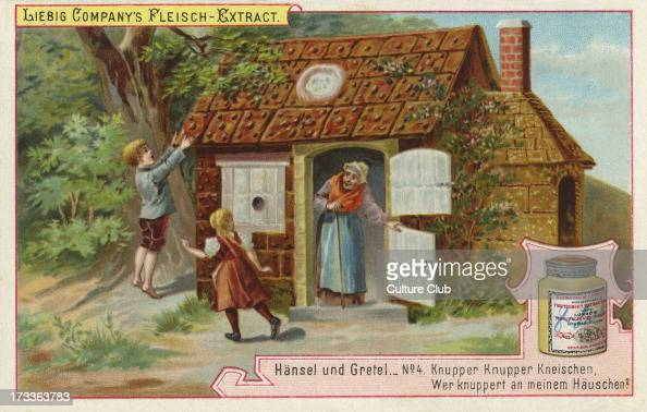 Hansel and Gretel by the Brothers Grimm Caption reads Nibble nibble gnawwho is nibbling at my little house' Liebig card Hansel und Gretel 1896