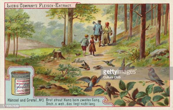 Hansel and Gretel by the Brothers Grimm Caption reads 'The second time Hansel lays a trail of breadcrumbs to follow home' Liebig card Hansel und...