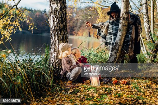 Hansel and Gretel, Witch scaring boy and girl sitting in forest